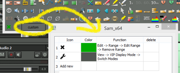 Sam toolbar custom action